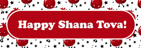 Happy Shana tova. Jewish new year greeting card. Harvest and Thanksgiving. Red ripe pomegranates on a white background