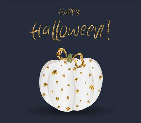 Festive chic elegant postcard. Beautiful Halloween. Golden pumpkin on a dark background Banque d'images - 129899315
