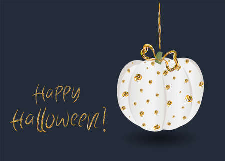 Festive chic elegant postcard. Beautiful Halloween. Golden pumpkin on a dark background Banque d'images - 129899318