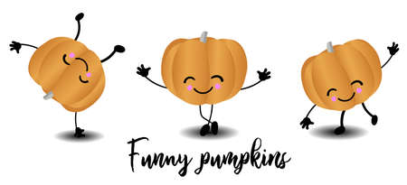 Pumpkin vegetable. Character for children with a smile. Funny faces.  イラスト・ベクター素材