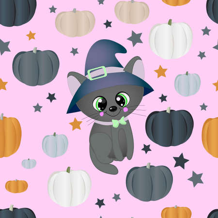 Halloween seamless pattern. Black background. Different color pumpkins and a cute cat in a hat.