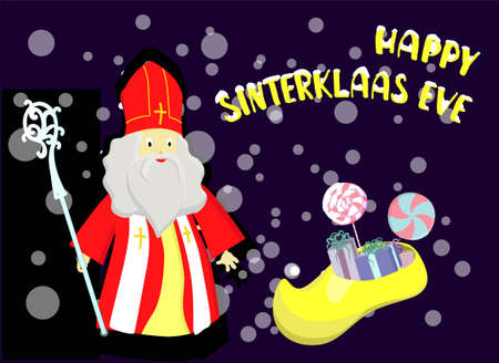 Cartoon style greeting card with Saint Nicholas Sinterklaas with mitre and pastoral staff and with traditional dutch shoe filled with carrots and candies. With hand drawn text.