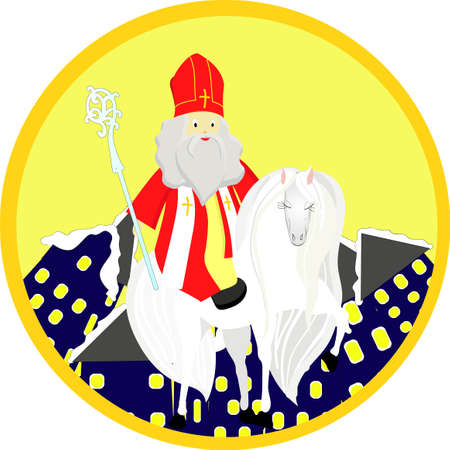 Sinterclass on a white horse. Emblem or logo for the day of St. Nicholas.