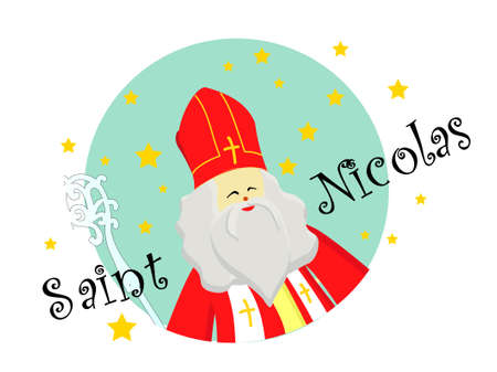 Joyeuses Saint Nicolas, Happy Saint Nicolas in french language isolated on white background.