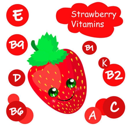 Vitamins in a strawberry. Vitamin content in berries. Healthy food. Childrens card. Çizim