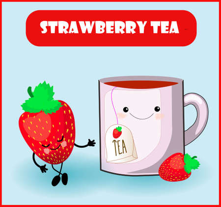 Strawberry Tea for the product. Kawaii cute characters. Cup and red berry with a face and a smile.