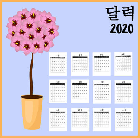 Calendar 2020 Korean. Stock rose or hibiscus national symbol of South Korea. Scroll with parchment. Persimmon fruit. Translation: days of the week and calendar Banco de Imagens - 131158305