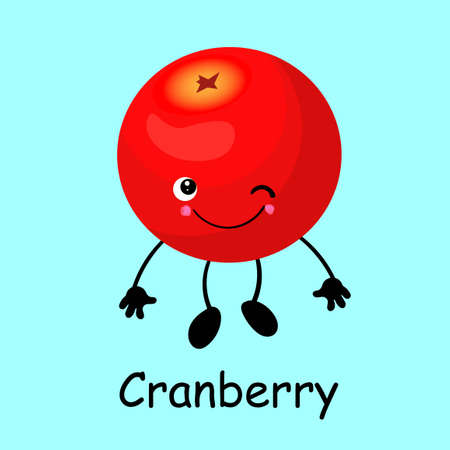 cranberry character, mooseberry funny berry with face, eyes and smile. Healthy food. Vitamins and minerals autumn