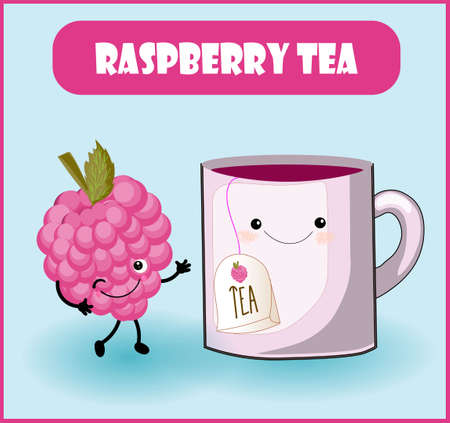 raspberry tea. Cup character, a funny berry with a face, eyes and a smile. Healthy food. Vitamins and minerals autumn