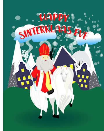 Saint Nicholas on a white horse. Greeting card for children's party. Religious winter holiday. Stock Illustratie