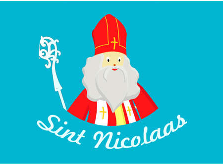 Portrait of St. Nicholas on a blue background. December 6. Day of sweets and gifts. Çizim