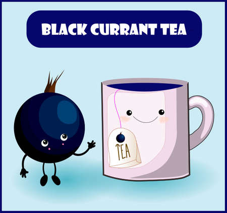 blackcurrant tea. Cup character, mooseberry cheerful berry with face, eyes and smile. Healthy food. Vitamins and minerals autumn Stock Illustratie