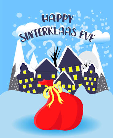 St. Nicolas day. Bag with surprises on a blue background. December. Day of sweets and gifts..