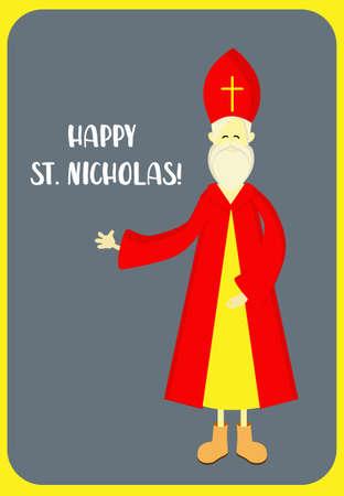 St. Nicolas day. December 6 and December 19. Sinterklaas on a white background.