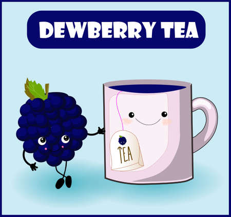 tea from dewberry. Cup character, mooseberry cheerful berry with face, eyes and smile. Healthy food. Vitamins and minerals autumn