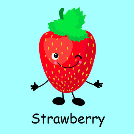 Berry strawberry character. Card for the study of fruits and berries for children.
