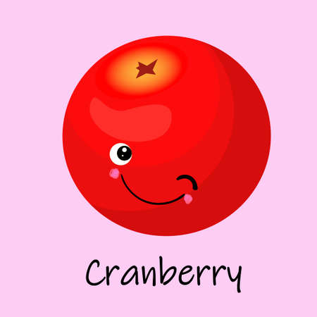 Cranberry berry character. Card for the study of fruits and berries for children.