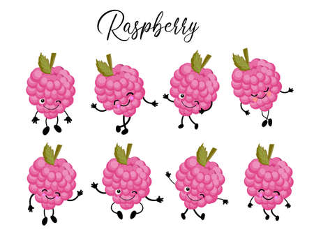Funny cartoon berries. Raspberry character. Set of poses