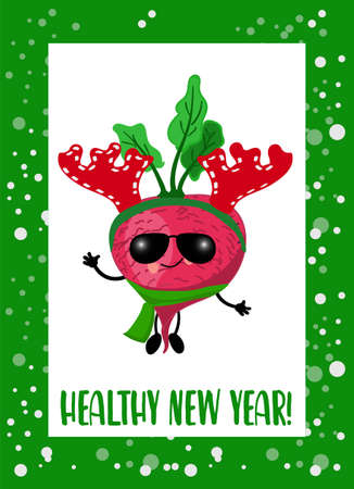 Happy New Year Greeting card with a cool vegetable in a hat. Green background. Greeting card. Vegetarianism.