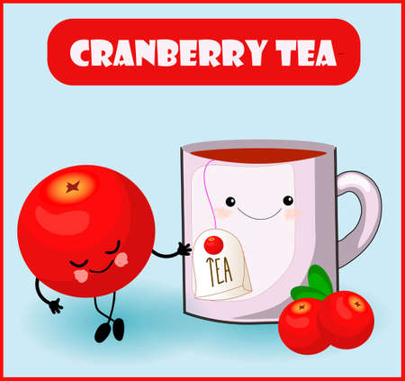 cranberry tea. Cute kawaii character red berry and a cup with a tea bag. Fortified autumn drinks