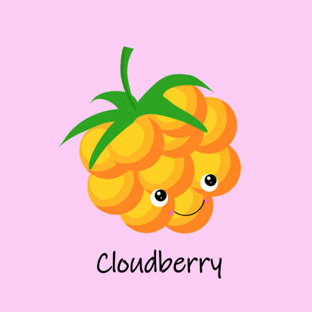 Cloudberry berry yellow character with face and smile. Kawaii sweets and desserts Illustration