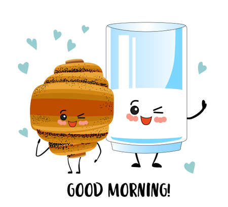 Good morning. A glass of milk and a croissant. Superhero Breakfast. Cute cartoon characters on a white background. Ilustração