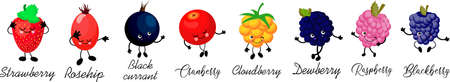 Large collection berries. berry character with eyes. White background. Healthy food. Card for children learning. Иллюстрация