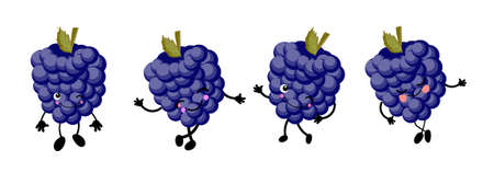 berry character with eyes. White background. blackberry. Healthy food