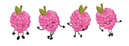 berry character with eyes. White background. raspberry. Healthy food Stock Illustratie