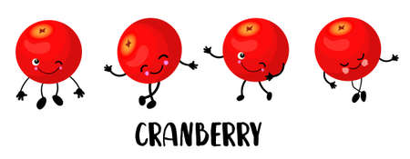 berry character with eyes. White background. cranberry. Healthy food. Stock Illustratie