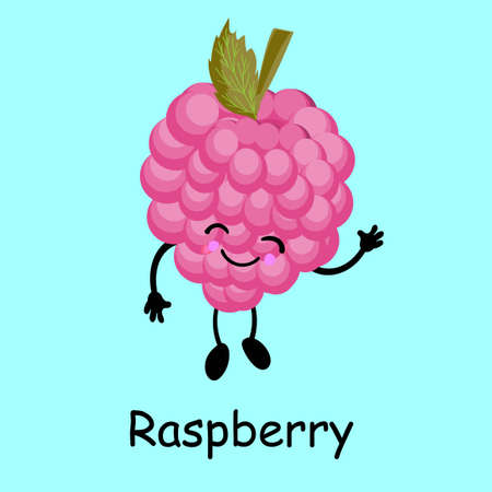 Berry raspberry character. Card for the study of fruits and berries for children. Stock Illustratie