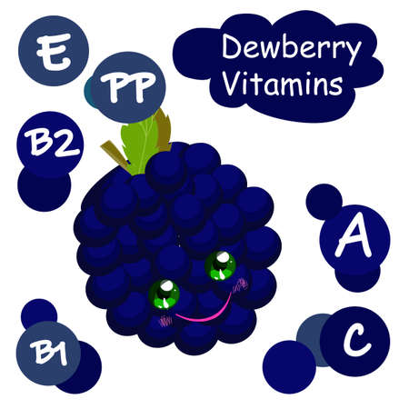 Cute cartoon fruit character. Vitamins in the berries. Black raspberries. Childrens illustration.