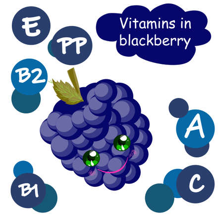 Cute cartoon fruit character. Vitamins in the berries. Blackberry. Children's illustration..