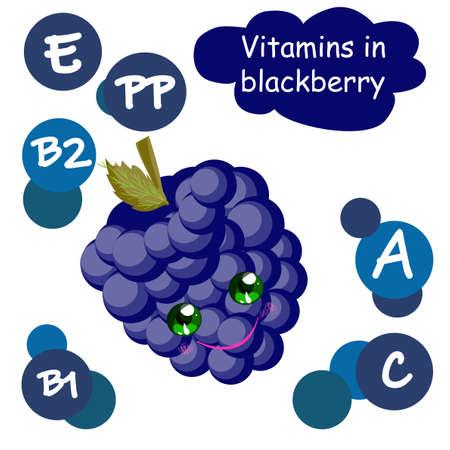 Cute cartoon fruit character. Vitamins in the berries. Blackberry. Children's illustration..
