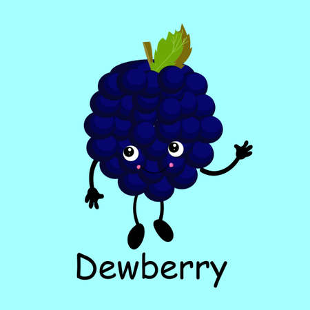 Cute and funny comic style blackberry character smiling wildly, cartoon vector illustration isolated on white background. Blackberry, dewberry character, mascot smiling proudly, singing, posing Çizim
