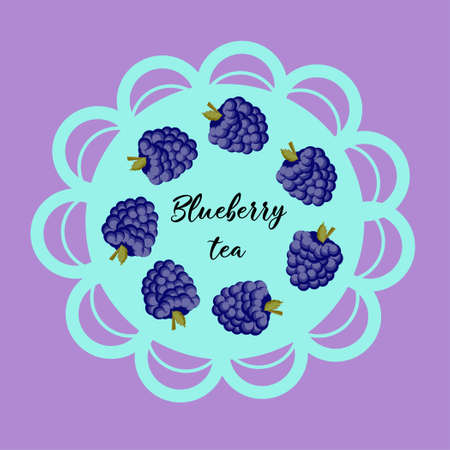 Illustration of cute staring dewberry mascot isolated on light background. Flat design style for your mascot branding