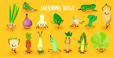 yoga vegetables. Healthy lifestyle. Sports and vegetarianism. Big collection of vegetables characters