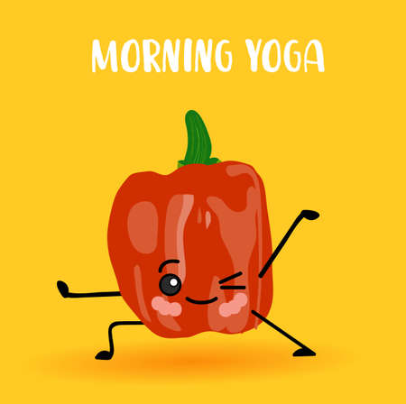 yoga vegetables. Healthy lifestyle. Sports and vegetarianism. Bulgarian pepper characters. Hinduism. Morning yoga.