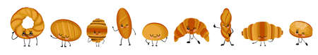 Funny bakery food with different emotions. Vector characters in cartoon style bun, baguette, long loaf, bagel, croissant. Cartoon character with arms and legs and a smile and eyes