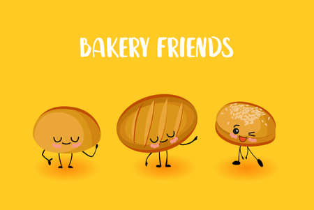 cute kawaii characters, bakery products. Bread, roll and loaf.