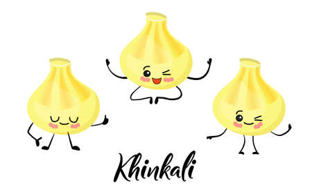 national dish of Georgian cuisine. Khinkali. Dumplings. . Semi-finished products with a shell of dough. Funny cartoon character. Tasty food
