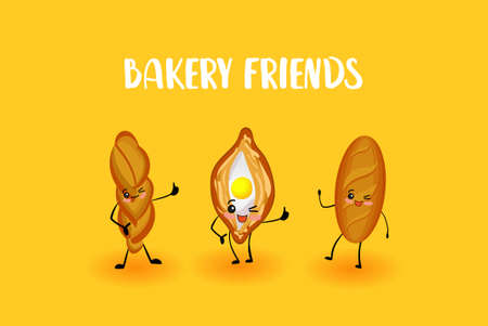 Bakery characters. Food made from flour. Bread and loaf.