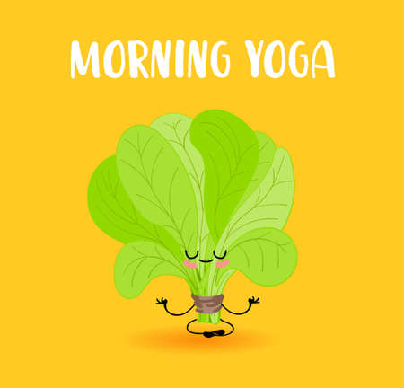 Spinach. Lettuce leaves. Vegan and vegetarian food. Vegetable Yoga. Character with eyes and hands. 向量圖像