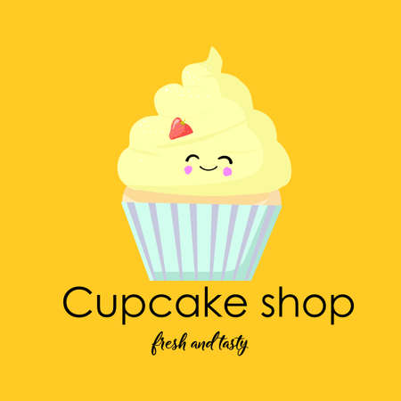 signboard design. Shop of muffins and cupcakes. Yellow background. Cake with eyes and a smile. Stockfoto - 132211742