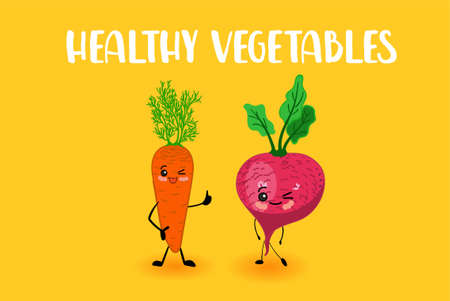 Cute vegetables for kids. Vegetarianism. Carrots and radishes. CHARACTERS WITH SMILE.