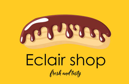 signboard design. Shop eclairs. Yellow background. Eclair with chocolate icing..