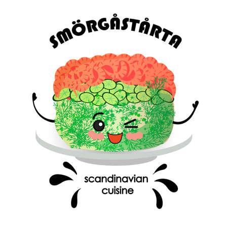 Scandinavian cuisine. Sandwich cake with salmon and shrimps SM RG ST RTA - Swedish translation  Stockfoto