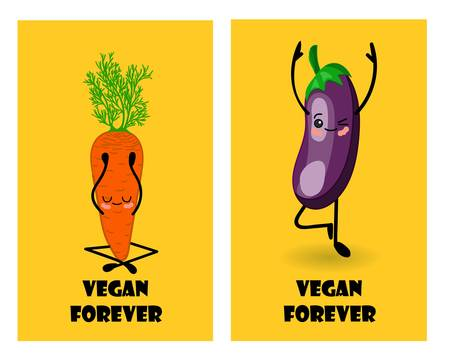 Vegan forever. Postcard to the international day of vegetarianism and healthy eating. Spinach character. Healthy vegetables. Yoga.