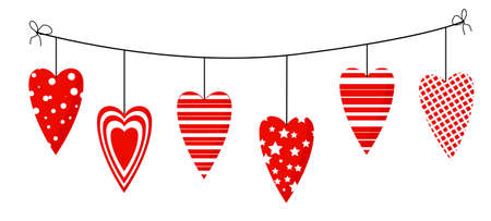 Element on a white background. For Valentines Day. Hearts on a rope. Decoration for website, banner or card.