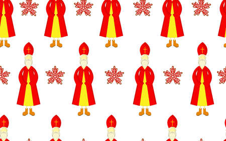 St. Nicholas Day pattern. Seamless. Red mantle and miter. Boxing Day for children. Christian holiday Illustration